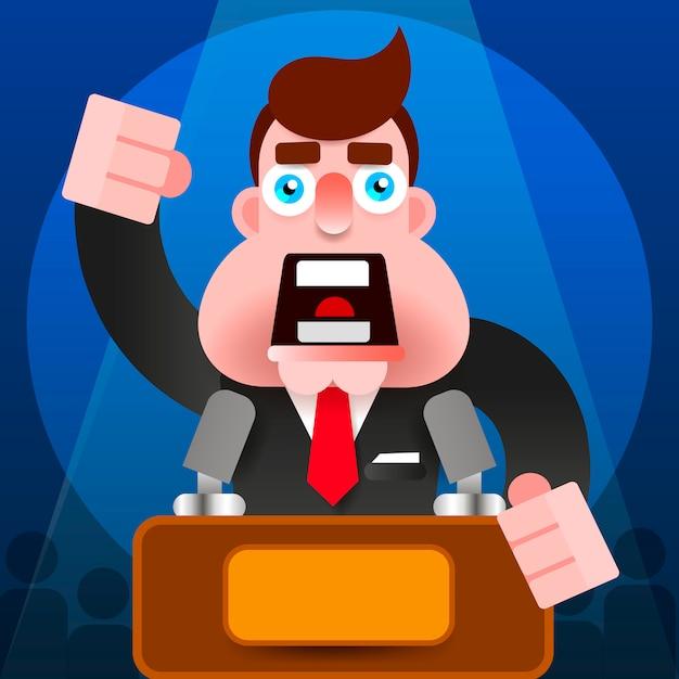 President speech with podium icon Premium Vector