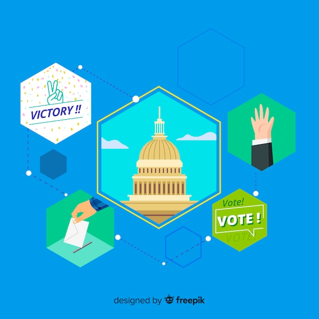 Presidential election composition with flat design Free Vector