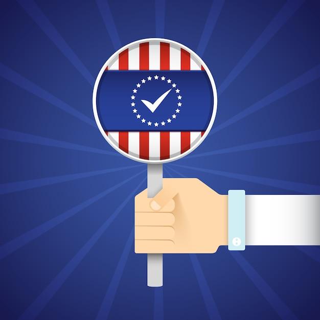 青い放射状に米国旗と拡大鏡を持っている手を持つ大統領選挙フラットコンセプト 無料ベクター