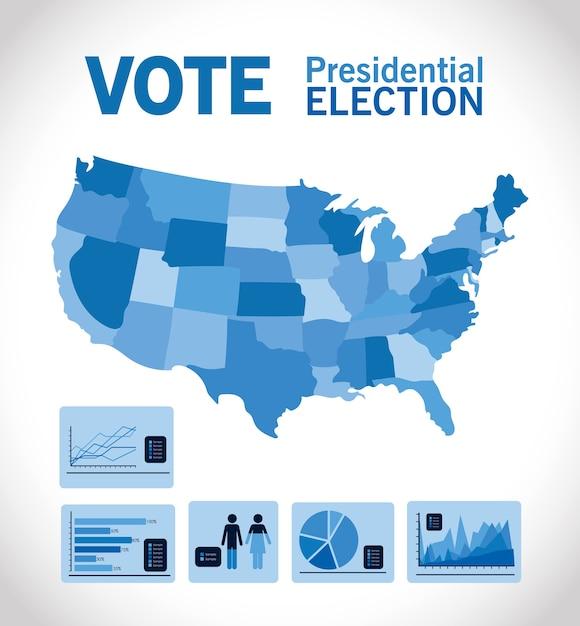 파란지도 및 인포 그래픽 디자인, 정부 및 캠페인 테마로 대통령 선거 투표 프리미엄 벡터