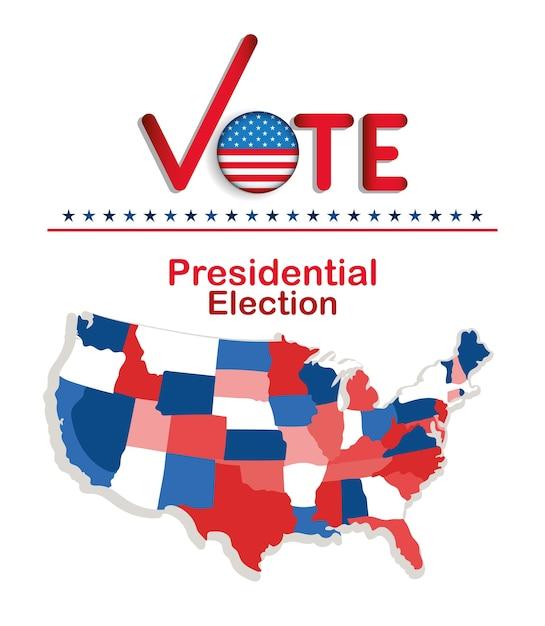 확인 표시 플래그 단추 및지도 디자인, 정부 및 캠페인 테마가있는 대통령 선거 투표 프리미엄 벡터