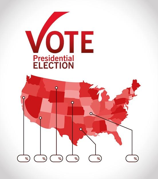 체크 표시지도 및 인포 그래픽 디자인, 정부 및 캠페인 주제가있는 대통령 선거 투표 프리미엄 벡터