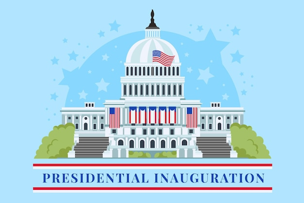 Presidential inauguration illustration with for usa white house and american flags Free Vector