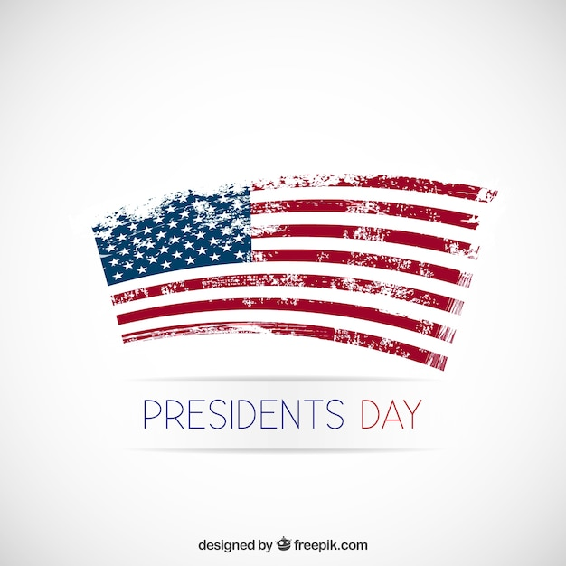 Presidents day background with grunge flag Free Vector