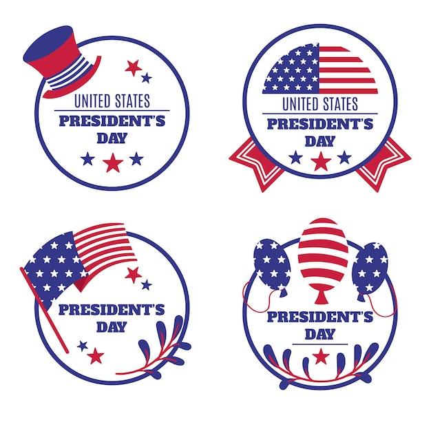 Collezione di badge per il giorno dei presidenti Vettore gratuito