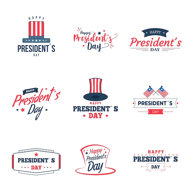 Presidents day label collection Free Vector