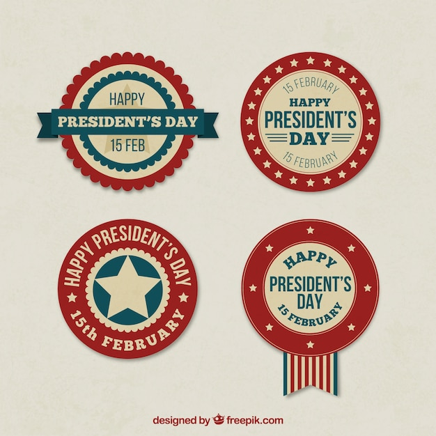 Presidents day retro badges Free Vector