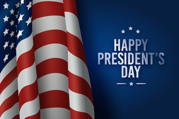 Presidents day with american flag Free Vector