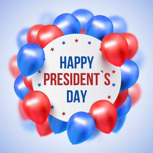 Presidents day with realistic balloons Free Vector
