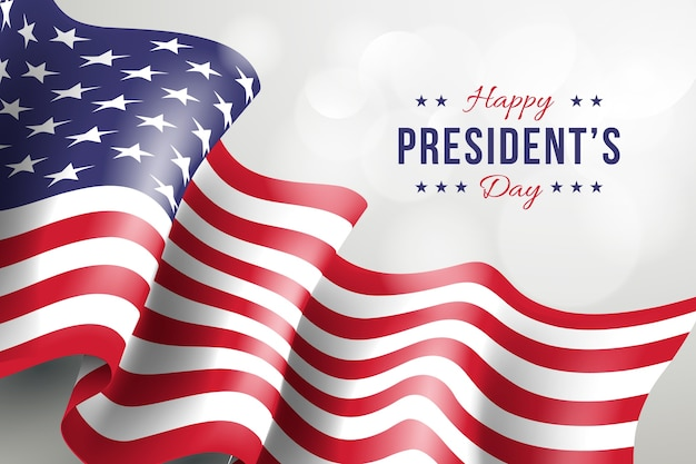 Presidents day with realistic flag and greeting Free Vector