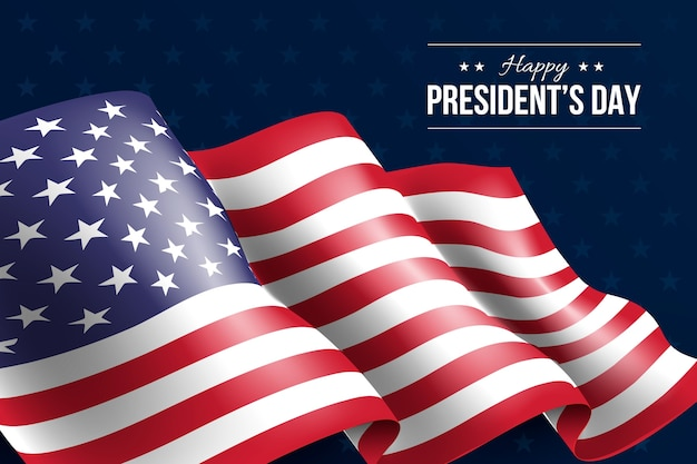 Presidents day with realistic flag Free Vector