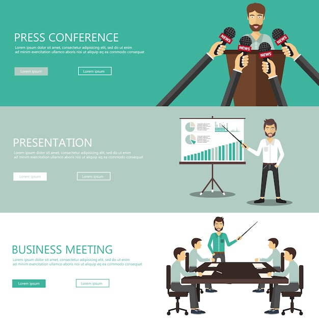 Press conference, presentation, meeting banners Free Vector