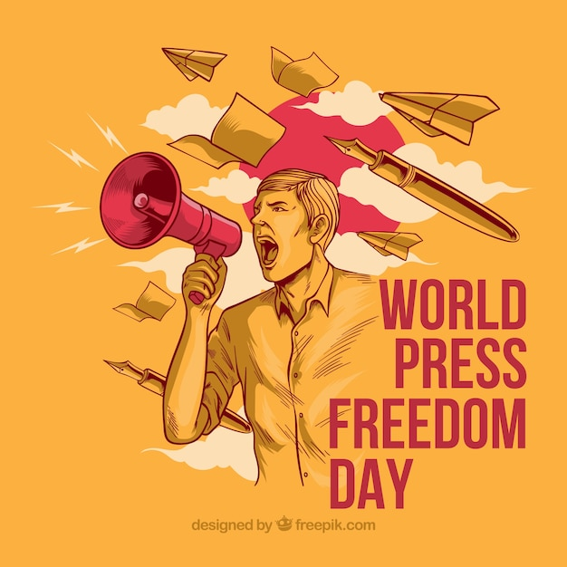 Press freedom background Free Vector
