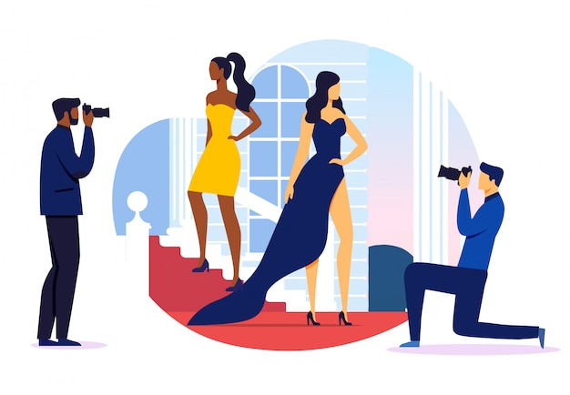 Prestigious event photoshoot vector illustration Premium Vector
