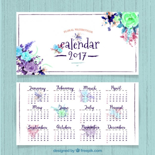Pretty 2017 calendar of watercolor flowers Free Vector