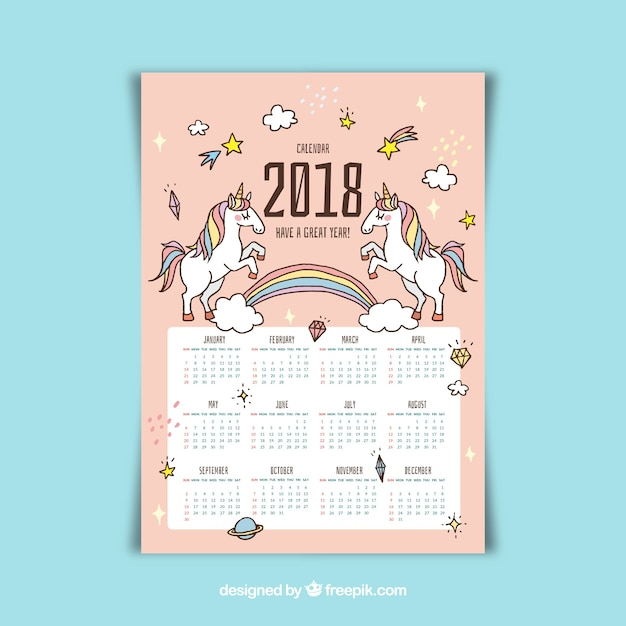 Pretty 2018 calendar with hand drawn unicorns Vector