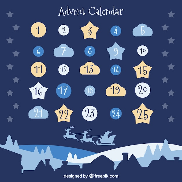 Pretty advent calendar with days in a shape of clouds, stars and baubles