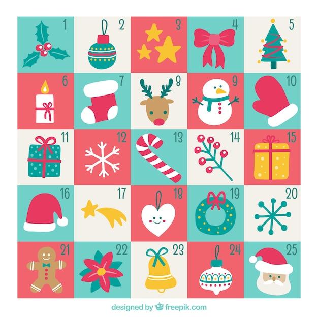 pretty advent calendar with pretty hand drawn elements