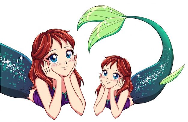 Pretty anime lying mermaid. red hair and shiny green fish tail. Premium Vector