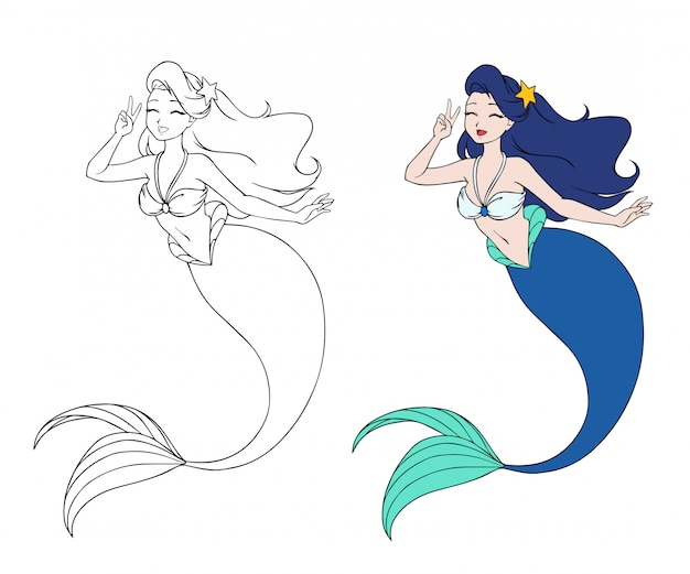 Pretty anime mermaid. blue hair and blue fish tail. Premium Vector