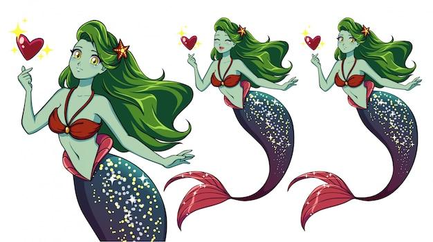 Pretty anime mermaid holding magical heart. green hair, green skin and shiny purple fish tail. Premium Vector