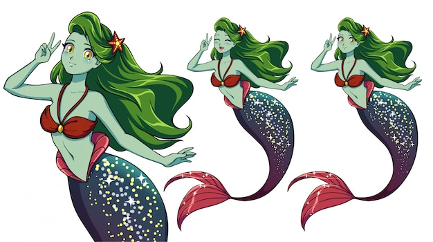 Pretty anime mermaid using a v sign. green hair, green skin and shiny purple fish tail. Premium Vector