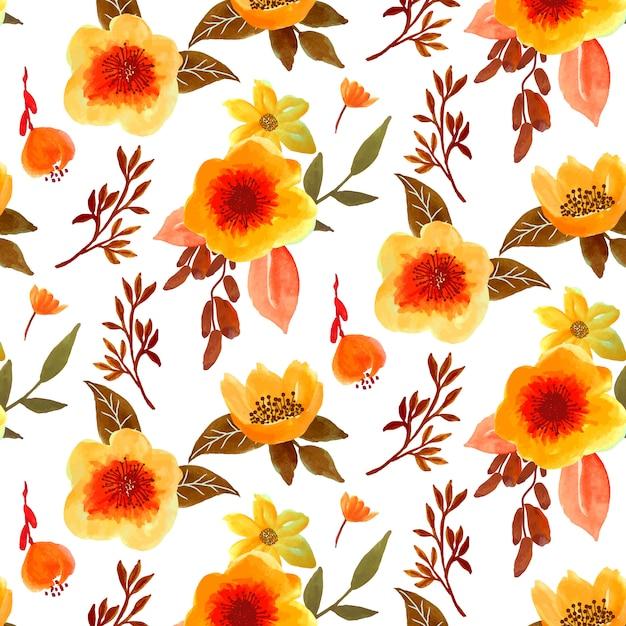 Pretty autumn floral watercolor seamless pattern Premium Vector
