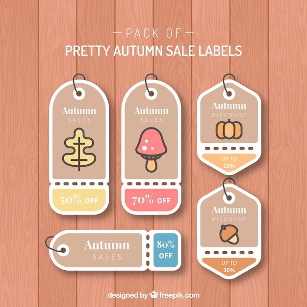 pretty autumn sale labesl vector free download