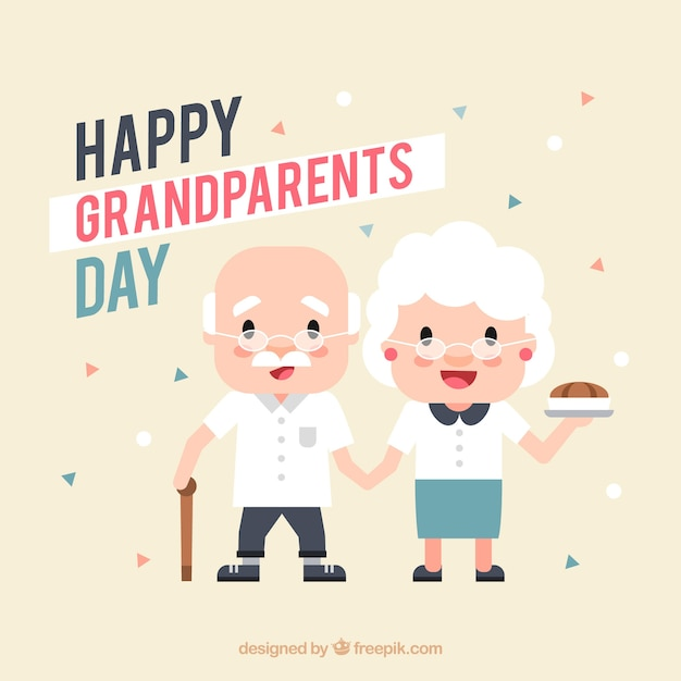 Pretty background of adorable grandparents in flat design Free Vector