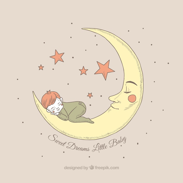Pretty background of boy sleeping on the moon Free Vector