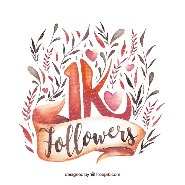 Pretty background of 1k followers with watercolor flowers