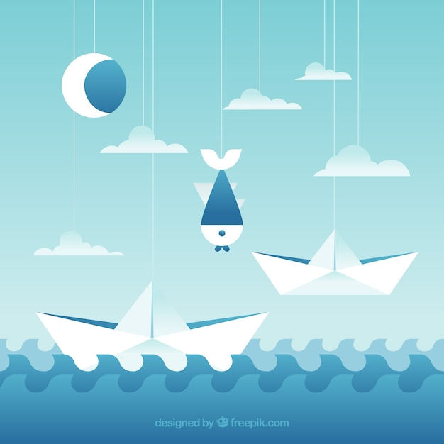 Pretty background of paper boats and other\ elements