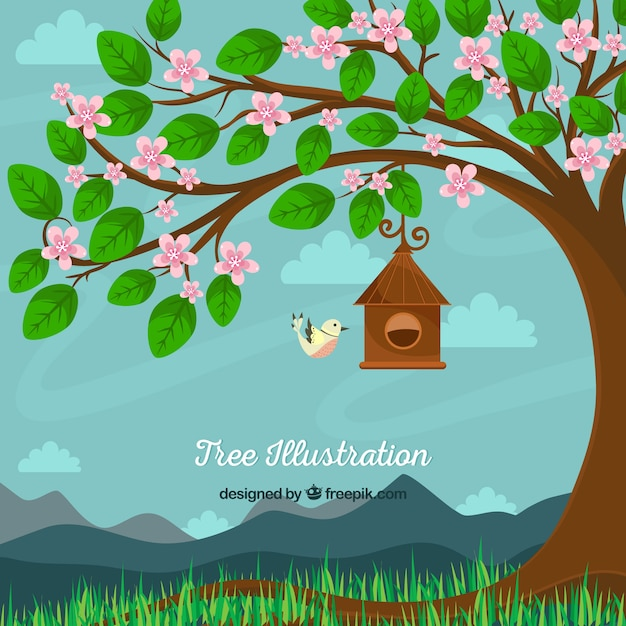 Pretty background of tree with flowers and bird Free Vector