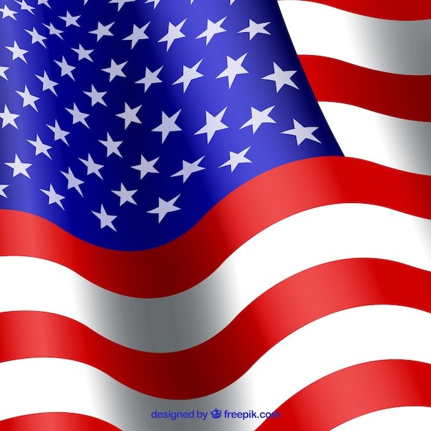 pretty background of wavy american flag in realistic design vector
