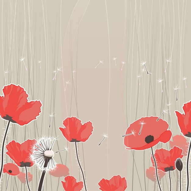 Pretty background with dandelions and red flowers Free Vector
