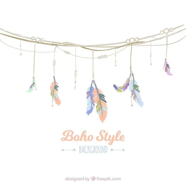 Pretty background with garland in boho style Free Vector