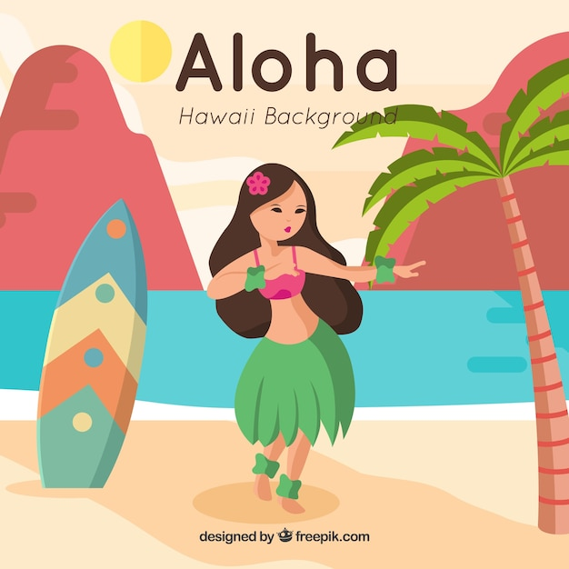ハワイの女の子とサーフボードとのかなりの背景 無料ベクター