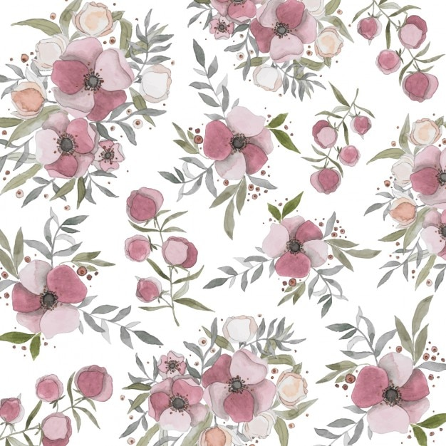 pretty background with painted flowers vector free download