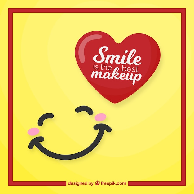 Pretty background with smile and red heart Free Vector