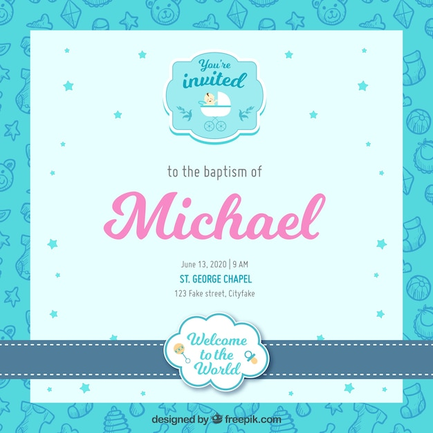 Pretty baptism invitation in flat design vector free download pretty baptism invitation in flat design free vector stopboris Image collections