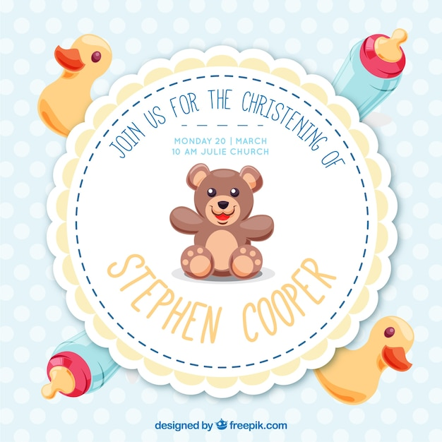 Pretty baptism invitation with toys vector free download pretty baptism invitation with toys free vector stopboris Images
