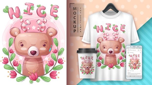 Милый медведь - плакат и мерчендайзинг Бесплатные векторы