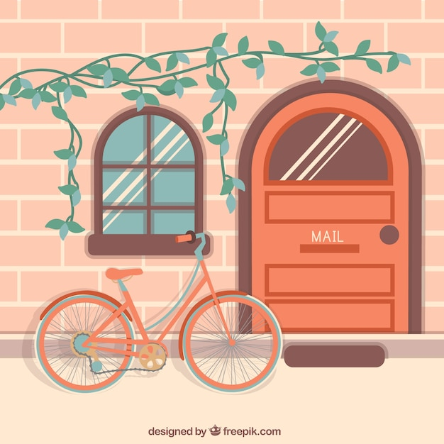 Pretty bike background and house facade