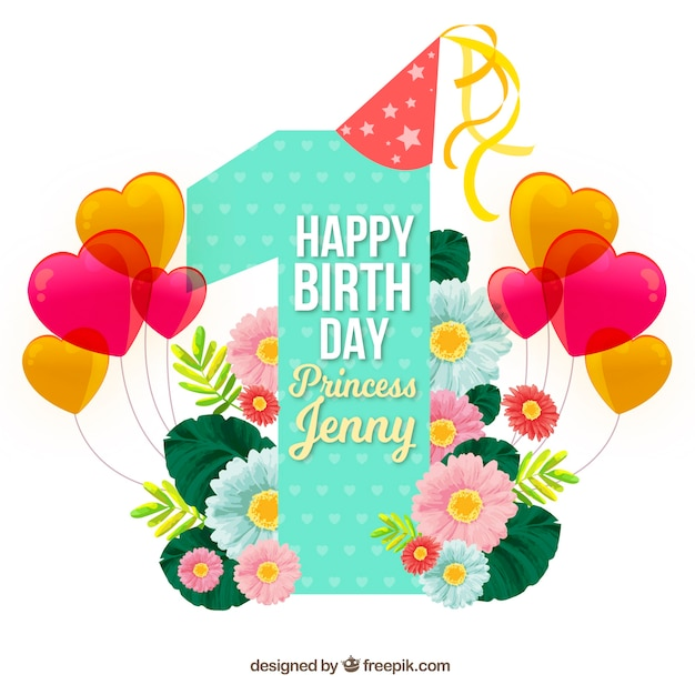 Pretty birthday background with balloons and flowers Free Vector