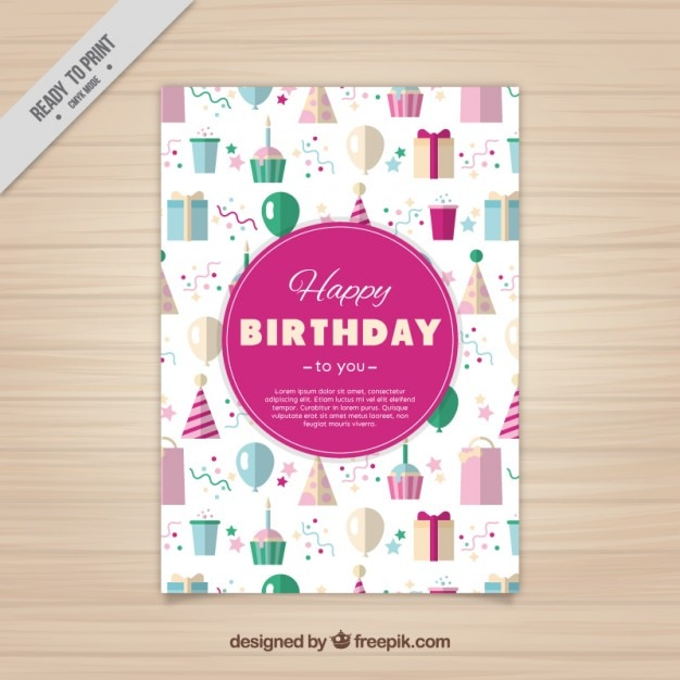 pretty birthday card in flat style vector  free download, Birthday card