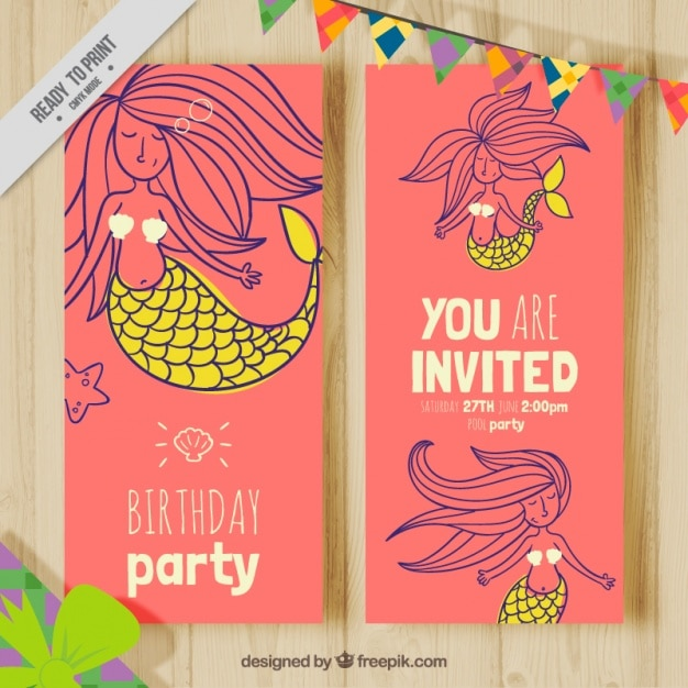Pretty Birthday Card With Hand Drawn Lovely Mermaid Free Vector