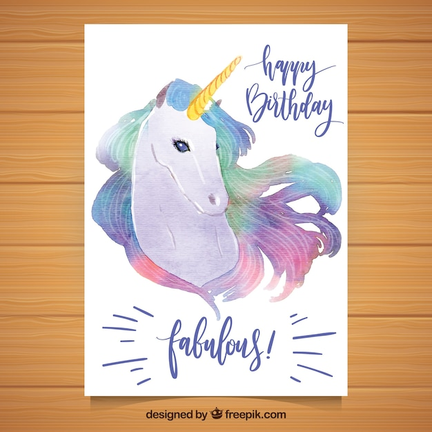 Pretty birthday card with watercolor unicorn