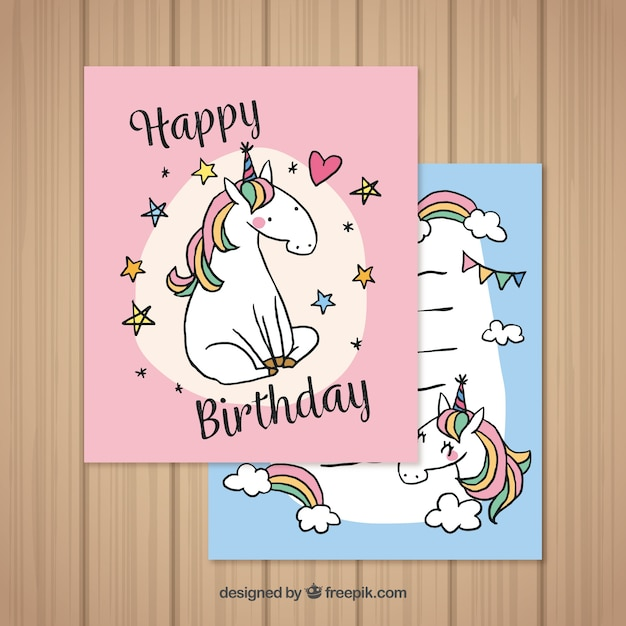 Pretty Birthday Cards With Hand Drawn Unicorn Vector