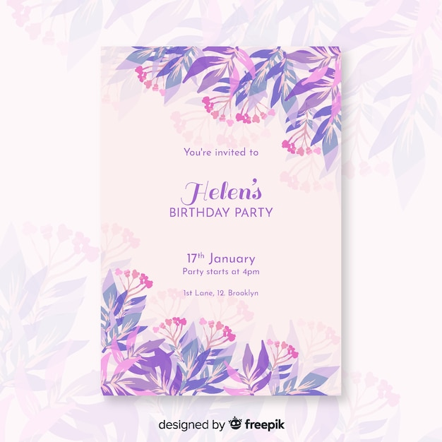 Pretty birthday invitation with flowers template Free Vector