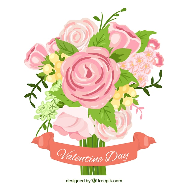 Pretty Bouquet Of Roses For San Valentine Free Vector
